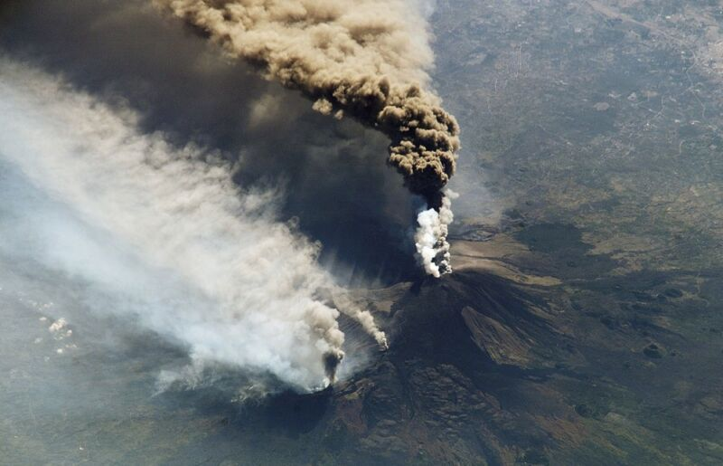 Aerial photograph of volcanic eruption.