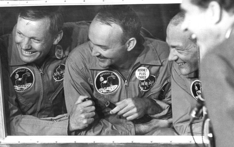 Three astronauts are the happiest men in history.