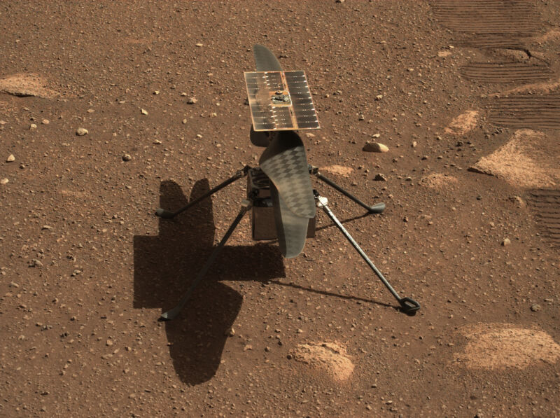 NASA's Ingenuity Mars helicopter is seen here in a close-up taken by Mastcam-Z, a pair of zoomable cameras aboard the Perseverance rover.