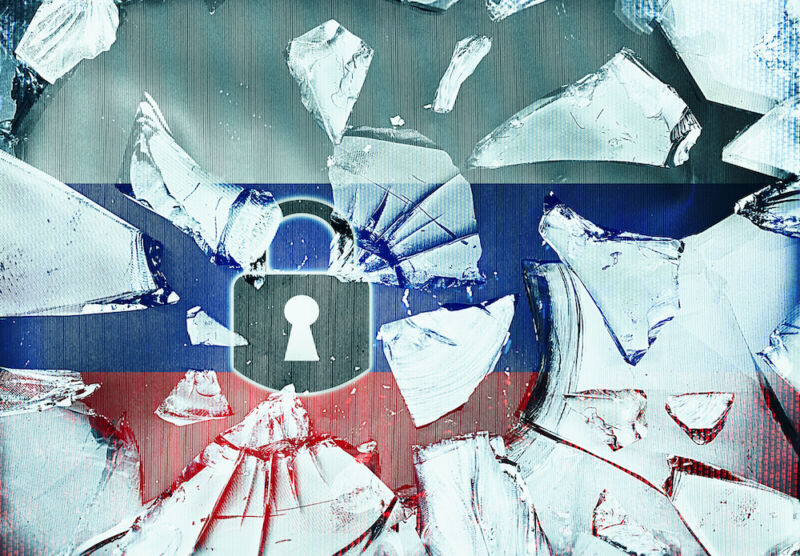 Cartoon padlock and broken glass superimposed on a Russian flag.